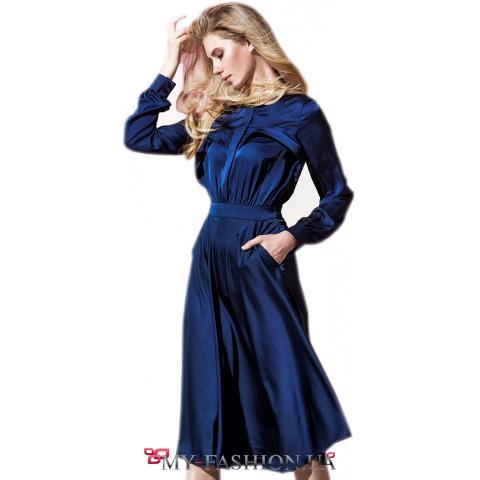 Дизайнерское платье-рубашка с декорированным бюстом