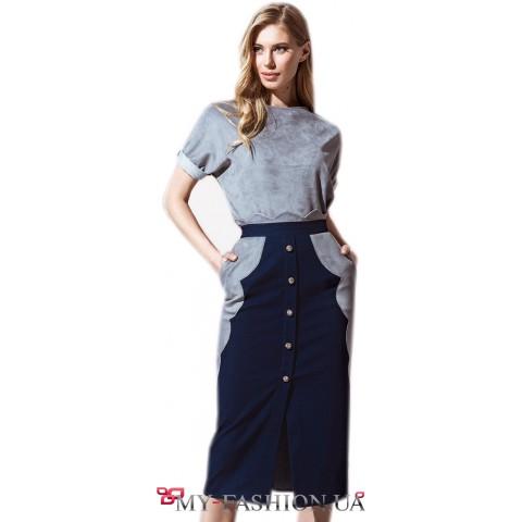 Джинсовая юбка с фигурными вставками из замши