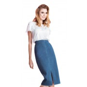 Джинсовая юбка- карандаш  с завышенной талией