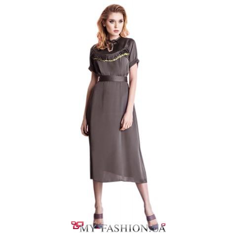 Платье средней длины на пояск