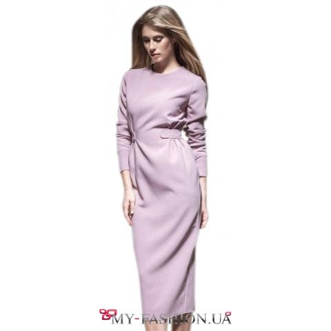 Лиловое платье - футляр миди длины