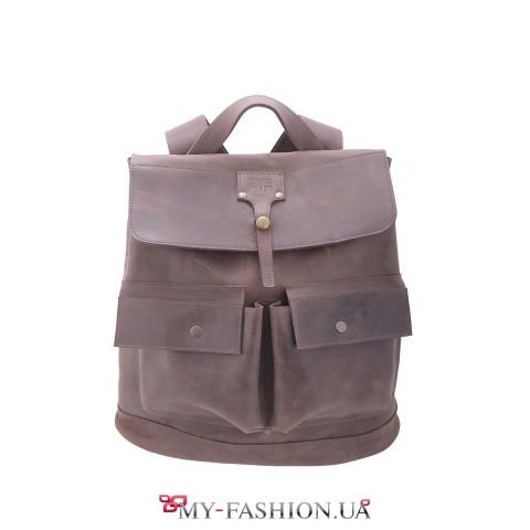 Вместительный кожаный рюкзак на две шлейки