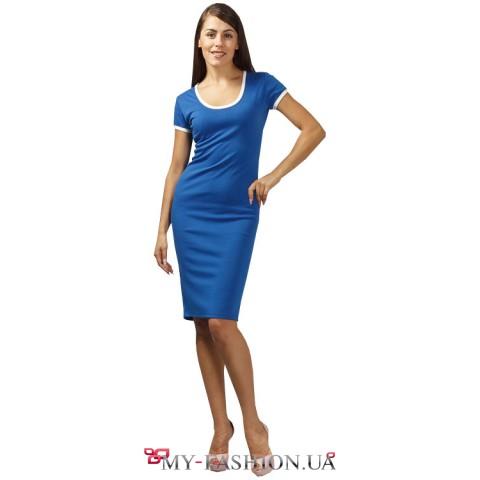 Платье синее трикотажное футляр с замком на спинке