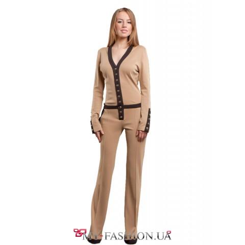 Комбинезон модный женский из телесного трикотажа