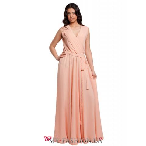 Дизайнерское персиковое платье в пол