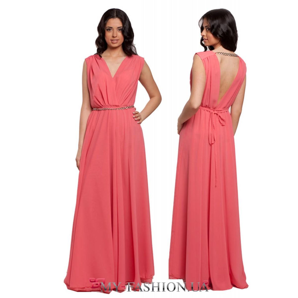 Купить коралловое длинное платье
