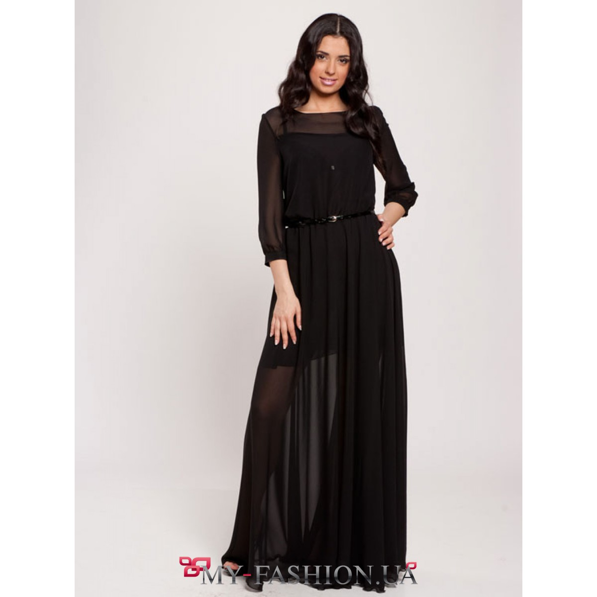 ac5b0b472c3 Чудесное черное шифоновое платье в пол купить в Киеве