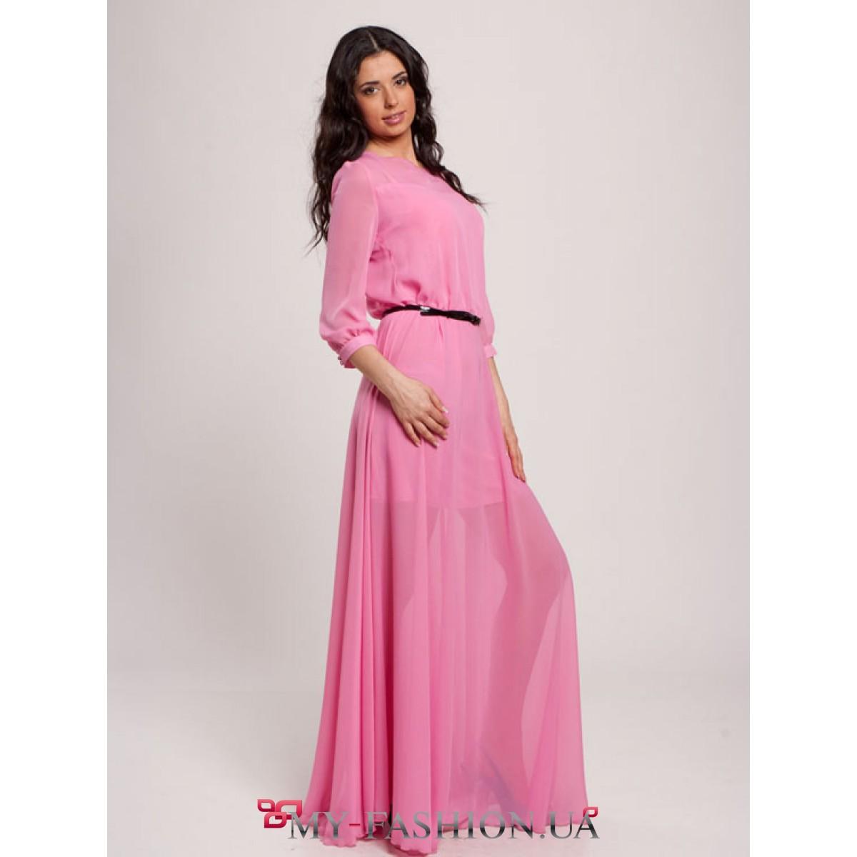 Длинное платье с рукавом в три четверти