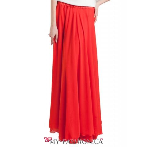 Брендовая длинная шифоновая юбка