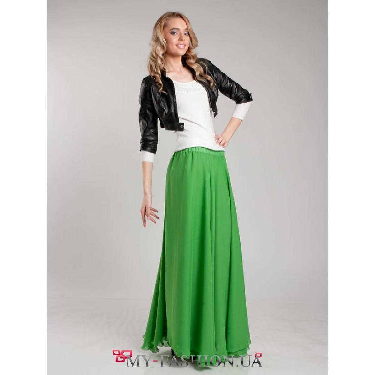 Купить зеленую длинную юбку