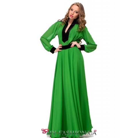 Зеленое выпускное платье в пол
