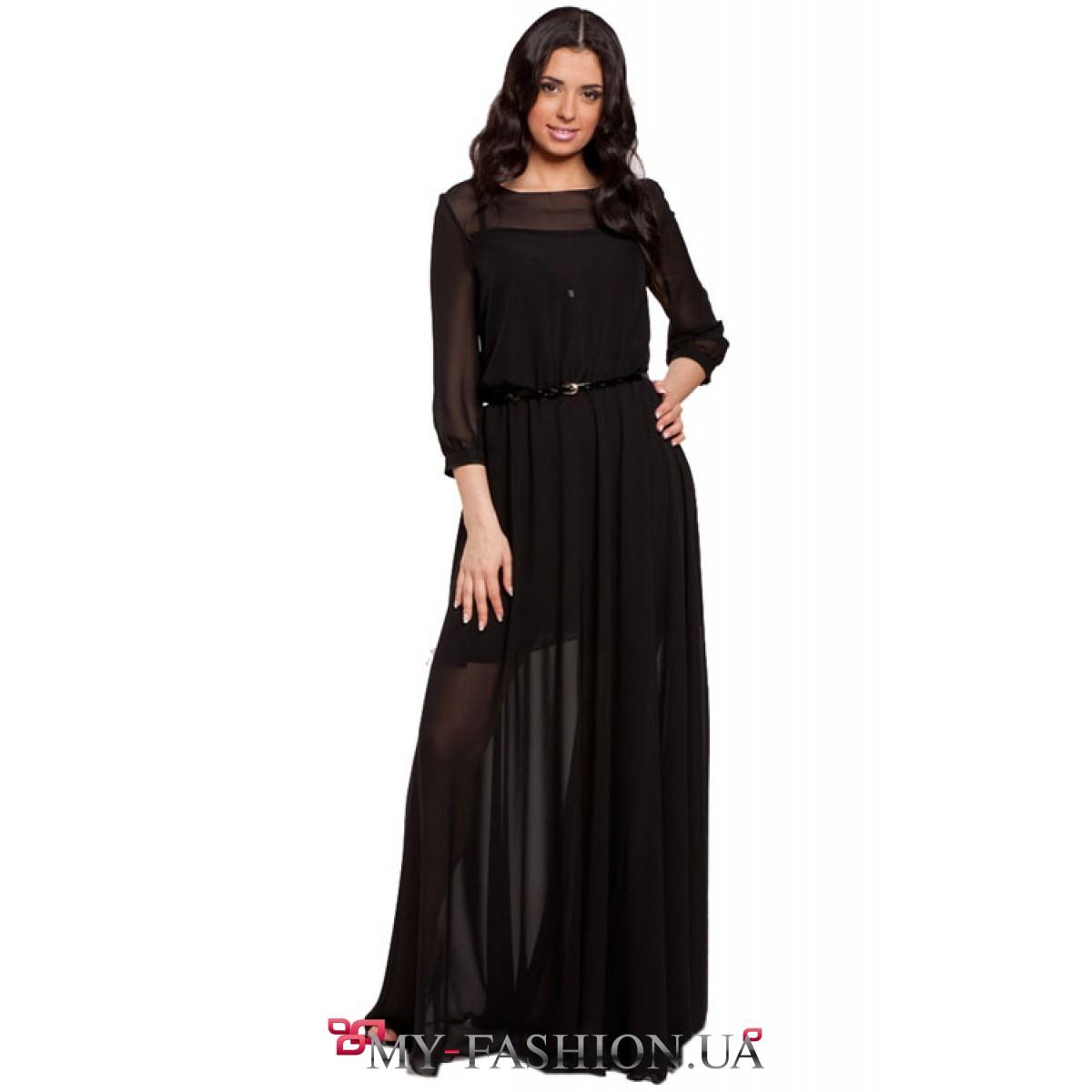 Купить платье чёрное с шифоном