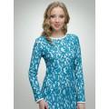 Бирюзовое вечернее платье из нежного гипюра