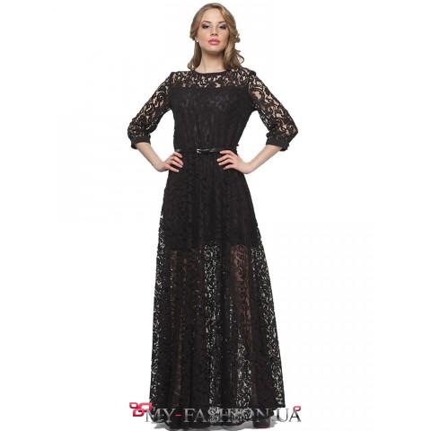 Длинное вечернее платье из чёрного гипюра
