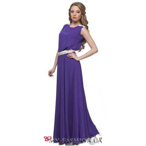 Длинное шифоновое платье фиолетового цвета