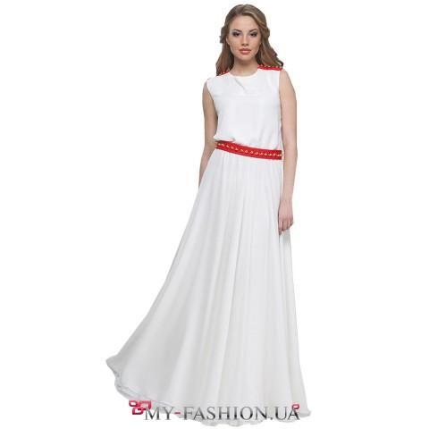 Изумительное белое платье с золотистыми шипами