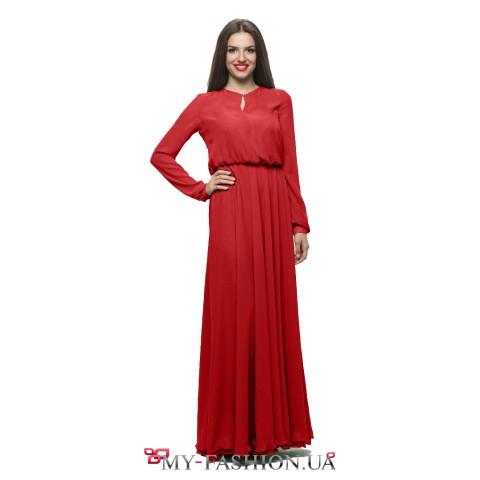 Платье из лёгкого красного шифона