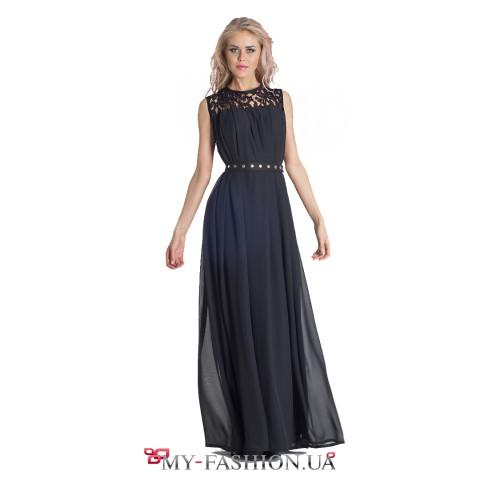 Коктейльное платье максимальной длины с ажурной кокеткой