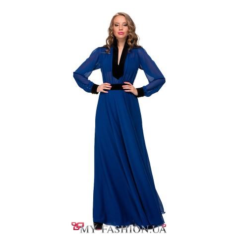 Длинное вечернее платье синего цвета