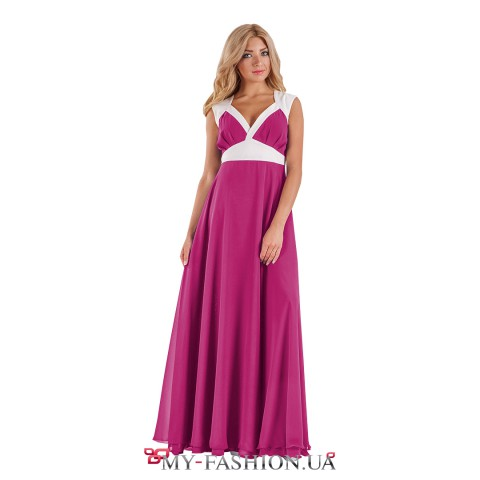 Длинное розовое платье в греческом стиле