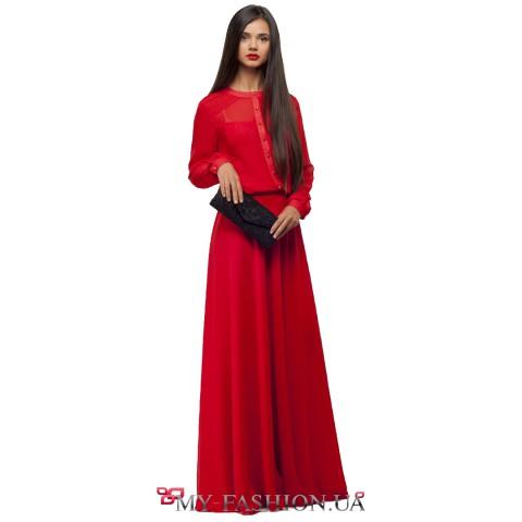 Длинное красное шифоновое платье с прозрачной спинкой