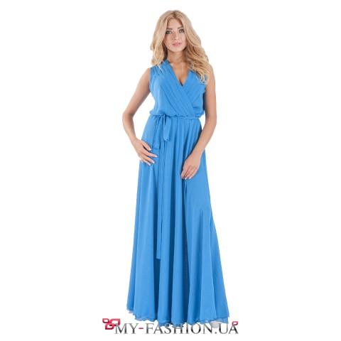 Дизайнерское платье из шифона нежного голубого цвета