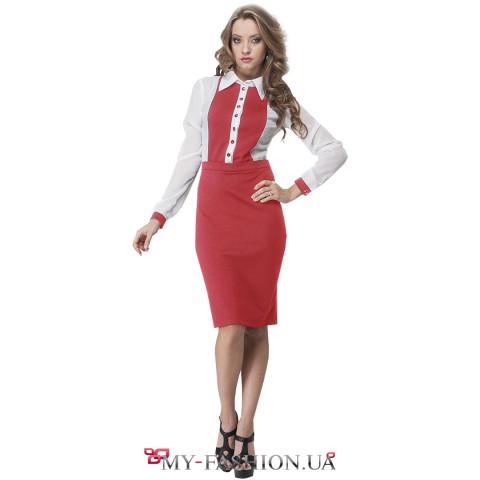 Стильное платье красного цвета для бизнес-леди