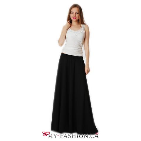 Длинная шифоновая юбка чёрного цвета