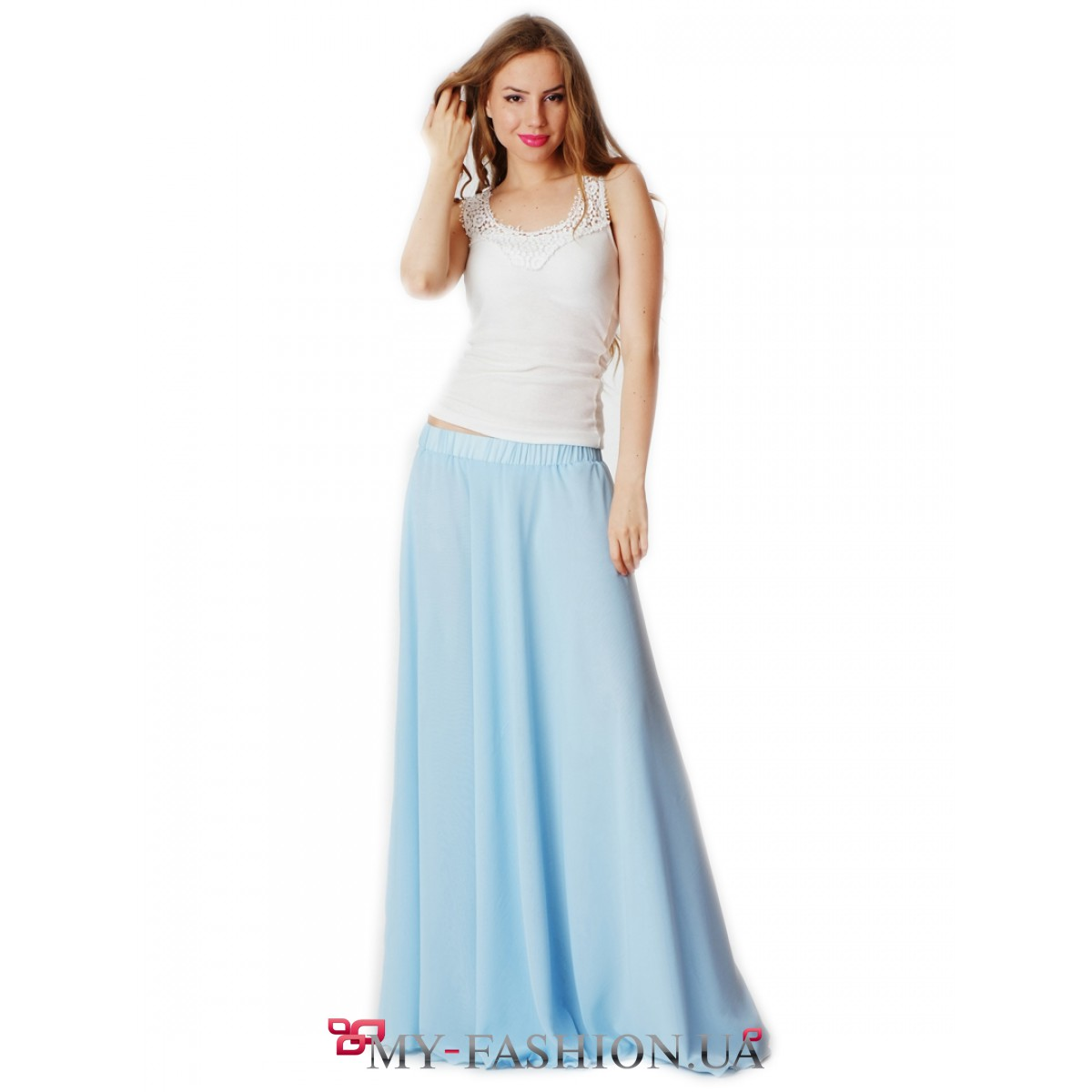 Летняя длинная юбка с цветами