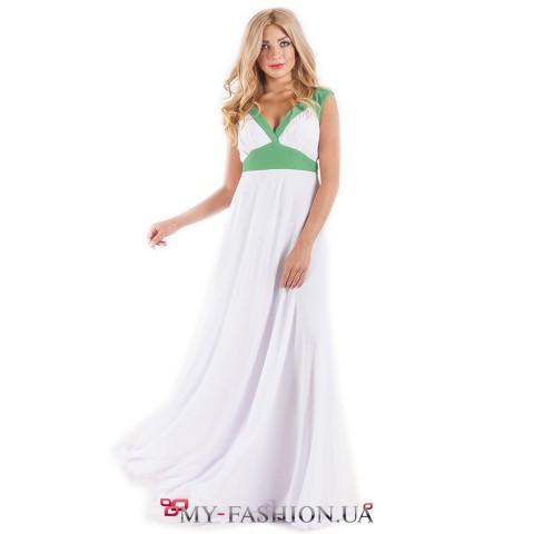 Белое шифоновое платье с зелёными вставками