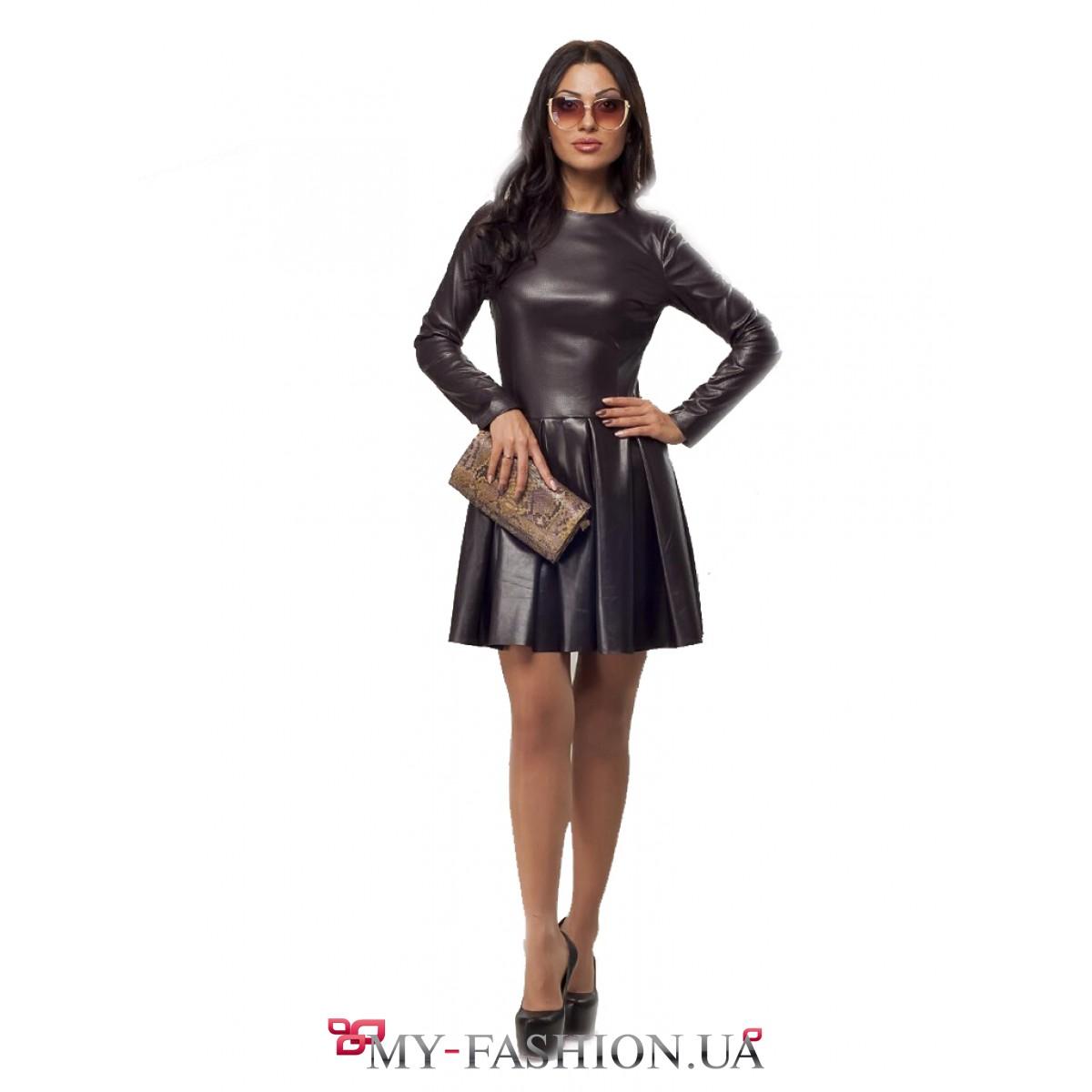 70270c4638c Шикарное чёрное кожаное платье с перфорацией купить в интернет ...