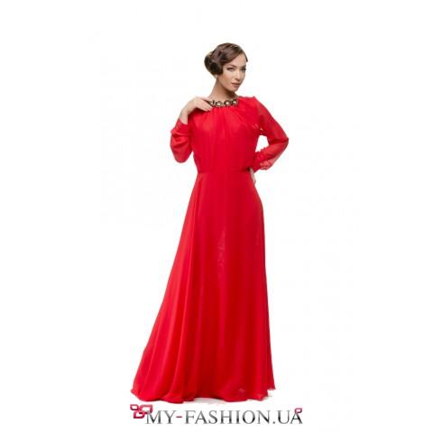 Элитное вечернее платье красного цвета