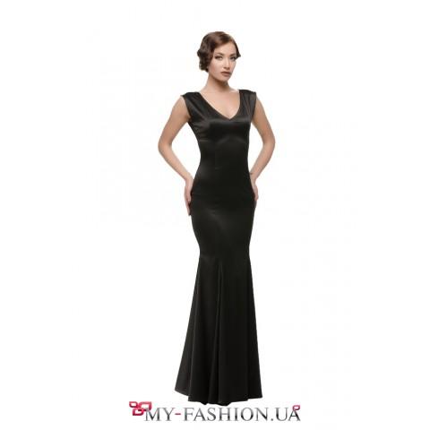 Чёрное атласное платье с юбкой-годе