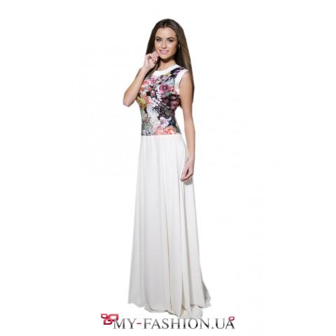 Комбинированное летнее платье из шифона