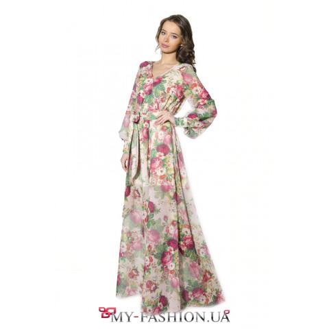 Бежевое длинное платье с крупными цветами