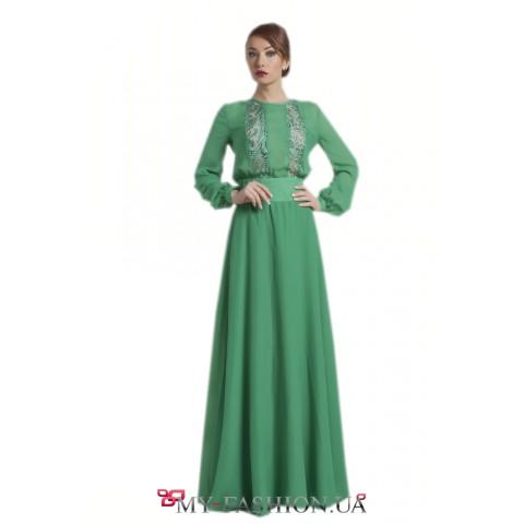 Зелёное шифоновое платье для торжественного вечера