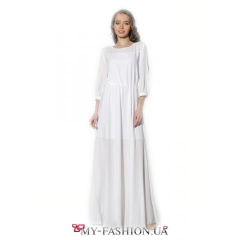 Платье максимальной длины с мелкой перфорацией