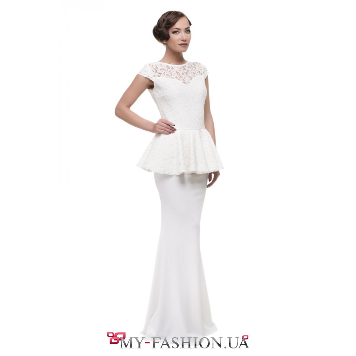 Купить белое длинное кружевное платье
