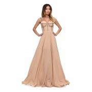 Длинное бежевое платье из трикотажа и шифона