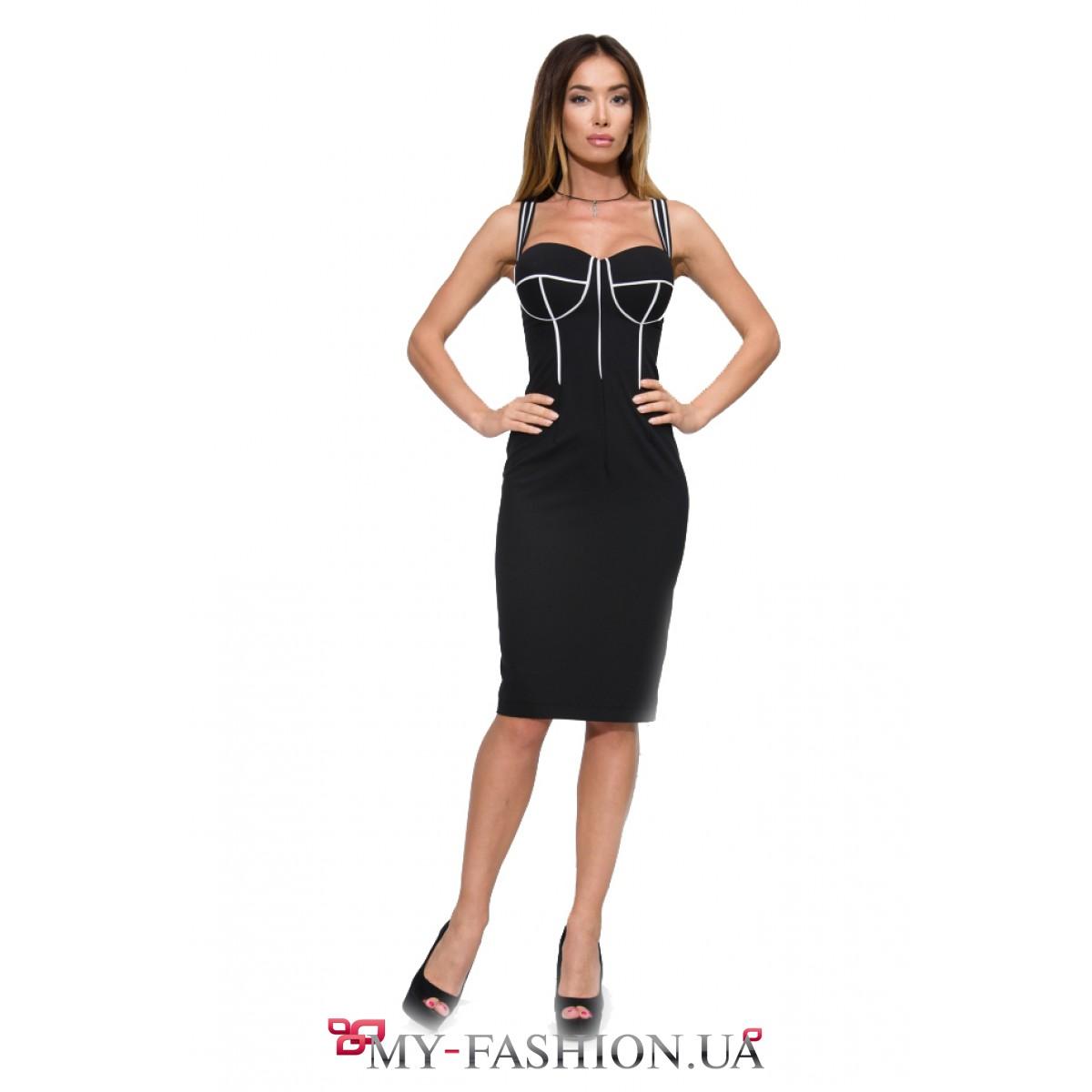 Платье на бретельках черное купить