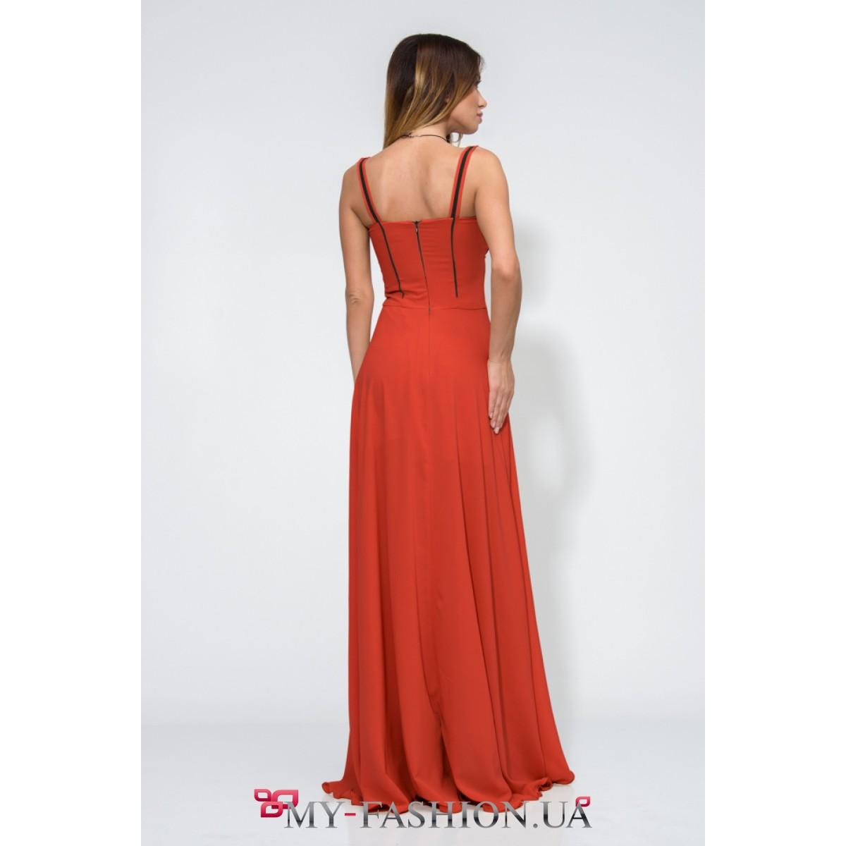 Платье оранжевого цвета вечернее