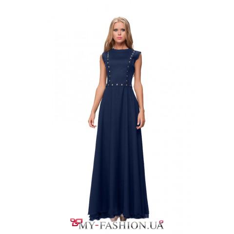 Коктейльное платье синего цвета из шифона