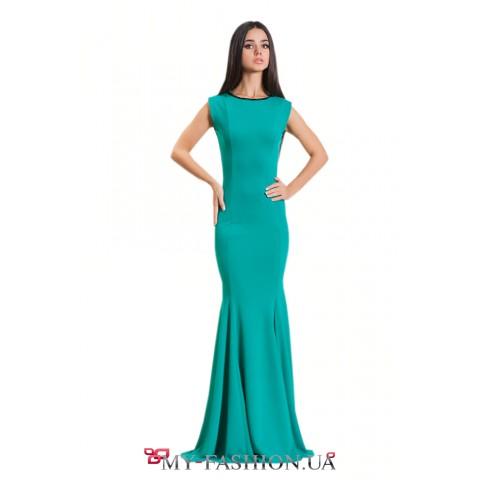 Бирюзовое трикотажное платье без рукавов