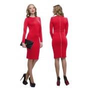 Красное платье с декором на спинке