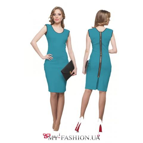 Голубое платье с контрастными кантами