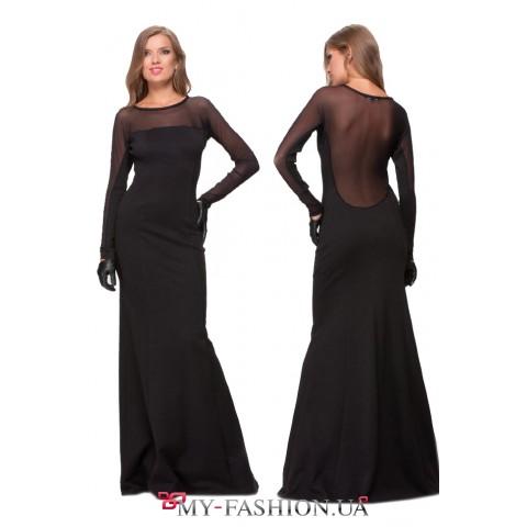 Длинное чёрное платье с прозрачными вставками