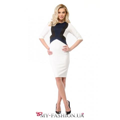 Белое комбинированное платье-футляр