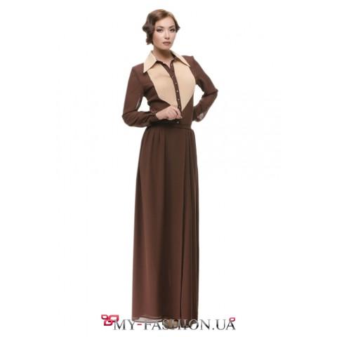 Коктейльное коричневое платье максимальной длины