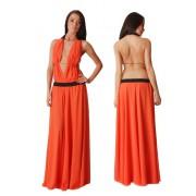 Сарафан оранжевого цвета с открытой спиной