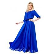 Длинное синее платье на выпускной